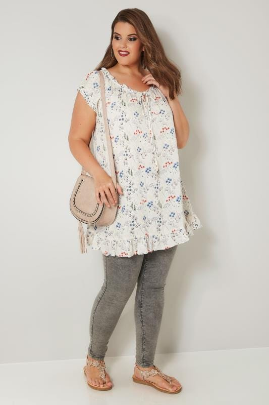 Ivory & Multi Floral Print Gypsy Top