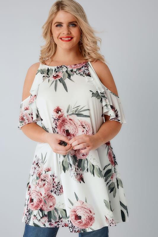 Plus Size Bardot & Cold Shoulder Tops Ivory & Multi Floral Print High Neck Cold Shoulder Top With Frill Detail