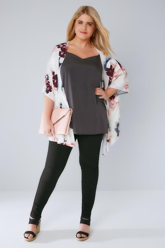 Ivory & Multi Floral Print Kimono With Short Sleeves