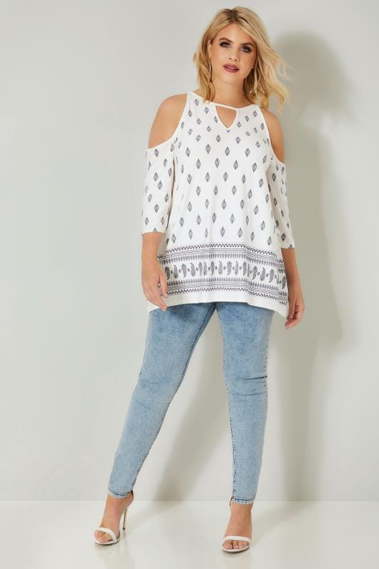 Ivory & Navy Border Print Cold Shoulder Jersey Top