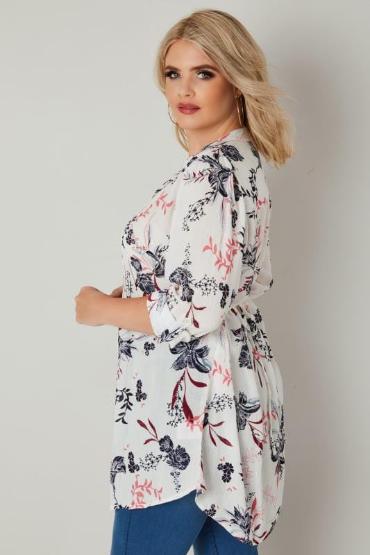 White & Pink Floral Pintuck Longline Blouse With Sequin Detail
