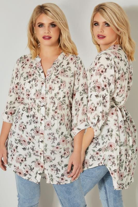 Ivory & Pink Floral Pintuck Blouse