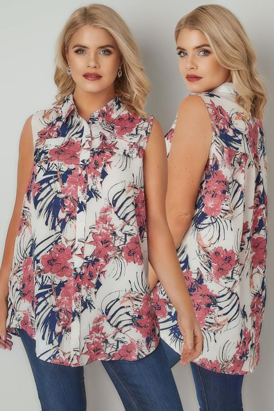 Ivory & Pink Floral Print Longline Sleeveless Shirt