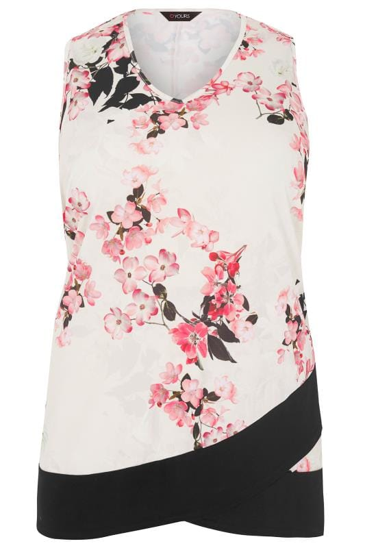 Plus Size Vests & Camis Ivory & Pink Floral Top With Cross Over Hem