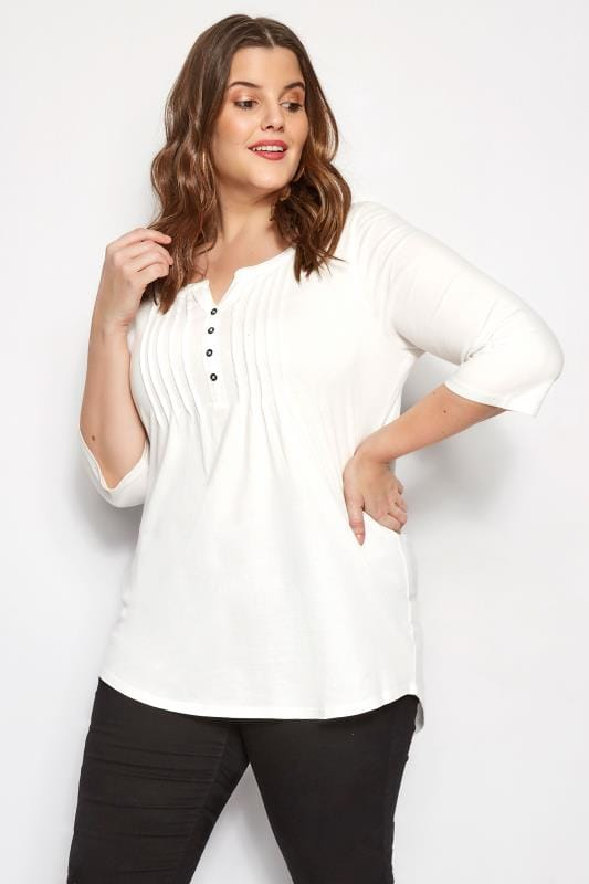 Plus Size Jersey Tops Ivory Pintuck Jersey Top