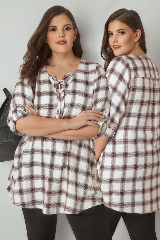 Ivory & Red Checked Shirt With Lace Neckline
