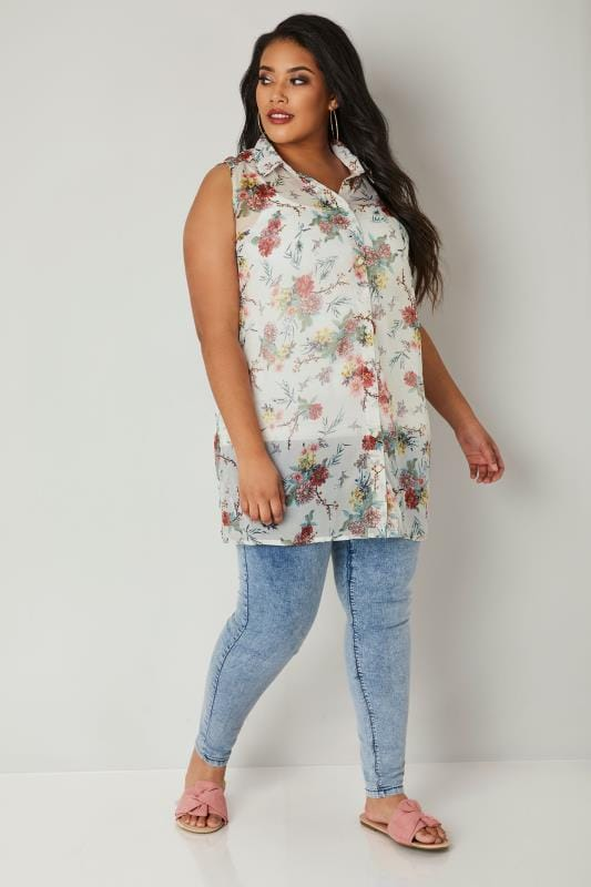 Ivory & Red Floral Chiffon Sleeveless Shirt