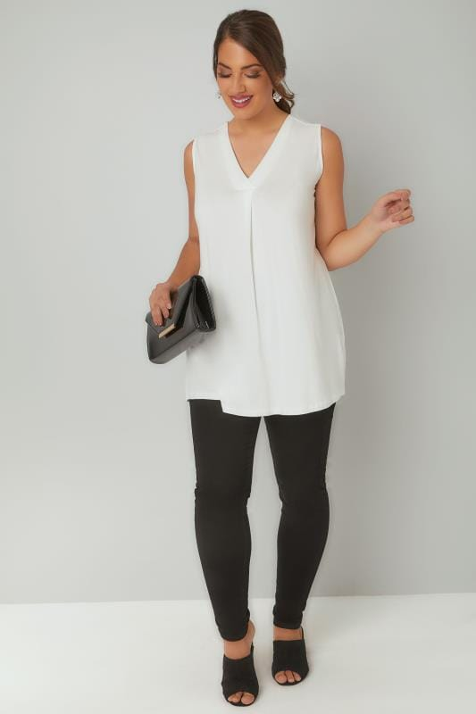Ivory Sleeveless V-Neck Jersey Top