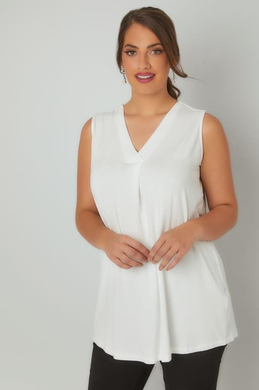 Jersey Tops Ivory Sleeveless V-Neck Jersey Top 134049