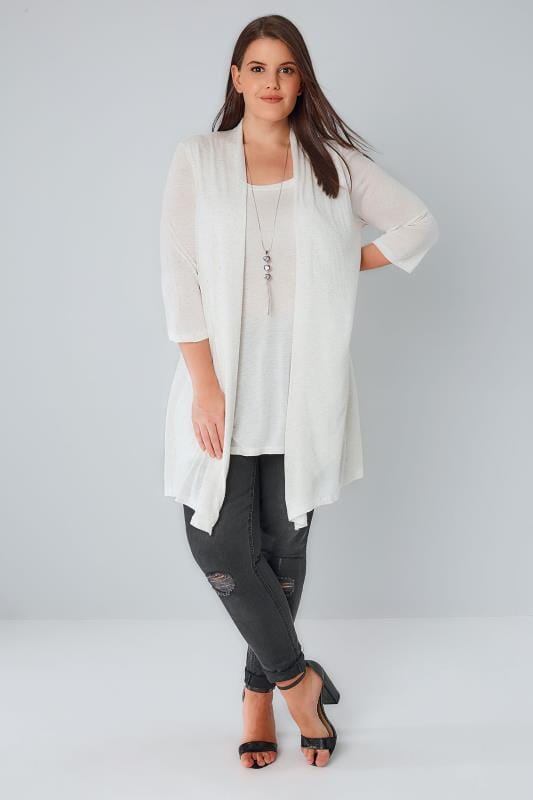 YOURS LONDON Ivory Sparkly 2 In 1 Top & Cardigan