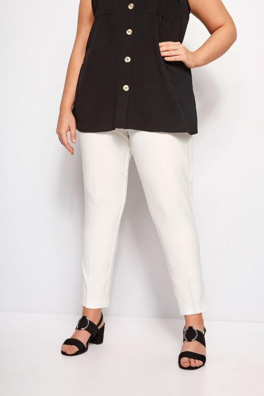 Plus Size Tapered & Slim Fit Trousers Ivory Tapered Crepe Trousers