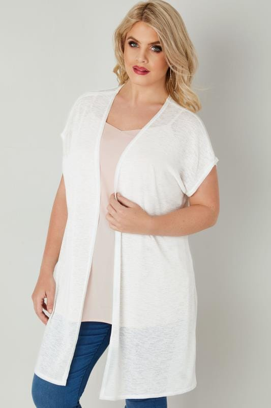 Plus Size Cardigans Ivory Textured Cardigan With Grown-On Short Sleeves