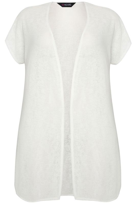 Ivory Textured Cardigan With Grown-On Short Sleeves, Plus ...