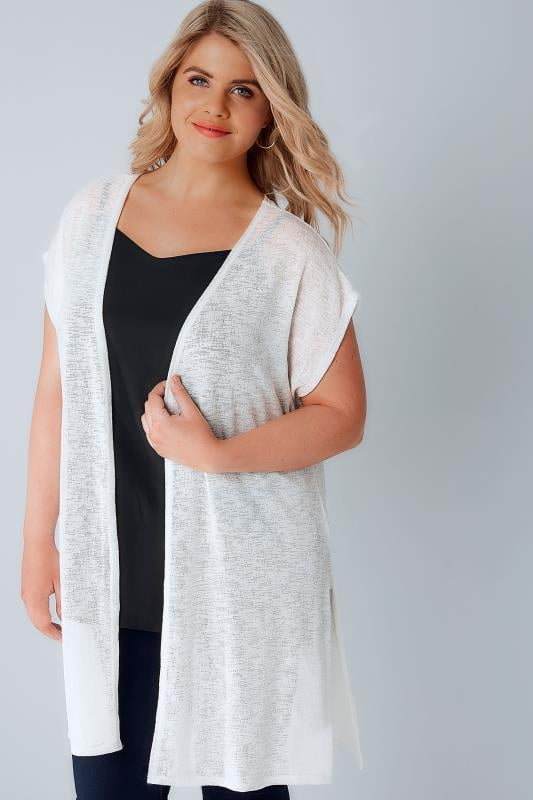 Cardigans Ivory Textured Cardigan With Grown-On Short Sleeves 134142