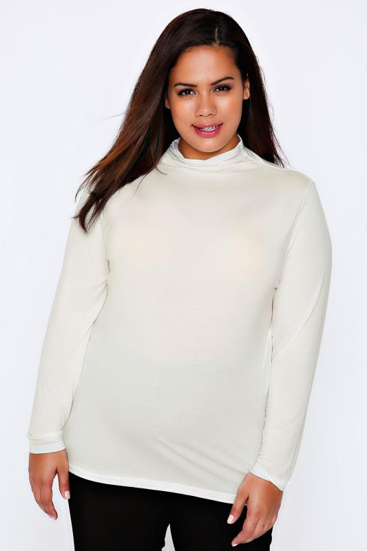 Ivory Turtle Neck Long Sleeved Soft Touch Jersey Top