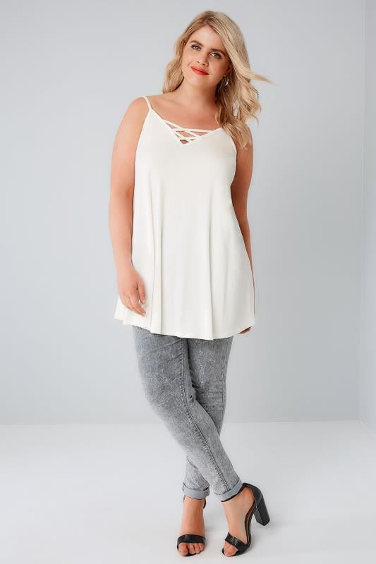 Ivory V-Neck Longline Cami Vest Top With Cross Front Detail