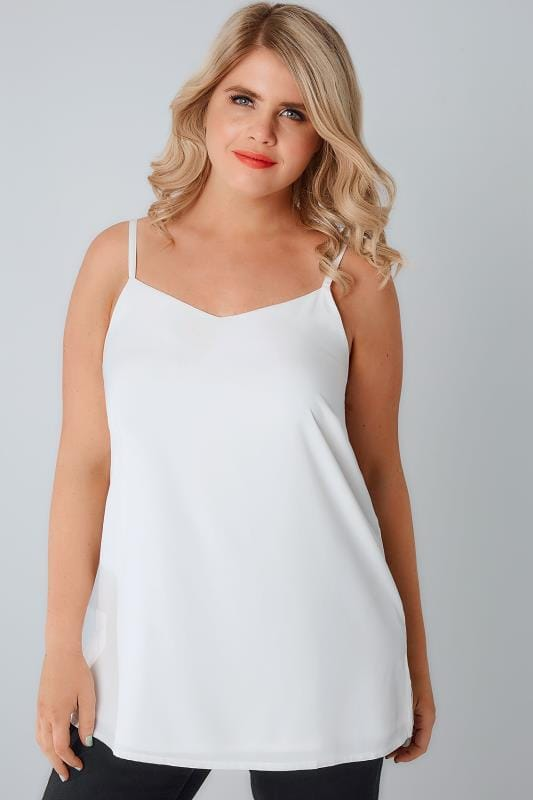 Ivory Woven Cami Top With Side Splits