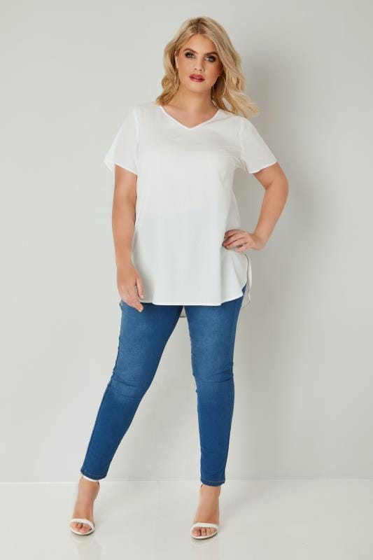 Ivory Woven Top With V-Neck & Curved Hem
