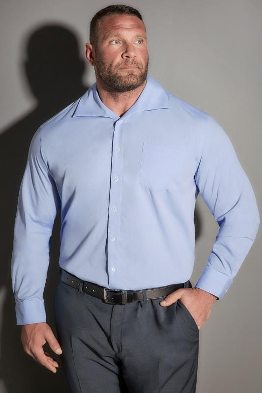 JP 1880 Blue Comfort Fit Shirt With Cutaway Collar