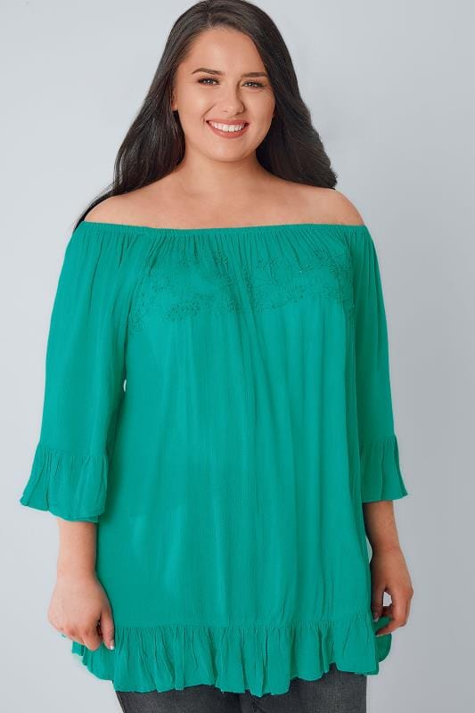 Jade Green Beaded Gypsy Top With Flute Sleeves