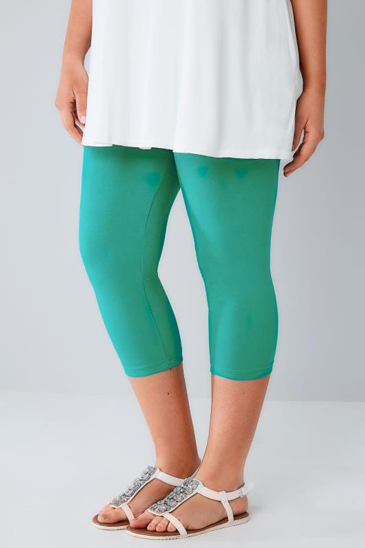 Jade Green Cotton Elastane Cropped Leggings