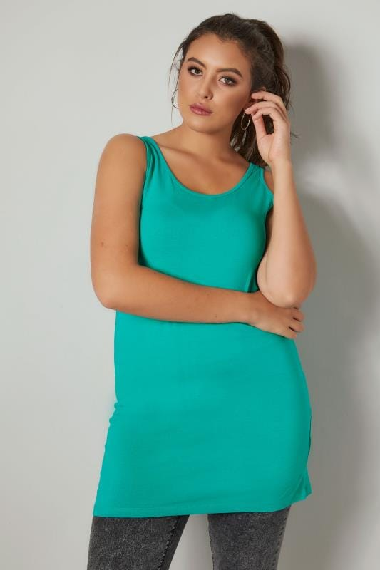 Plus Size Basic T-Shirts & Vests Jade Green Longline Vest Top