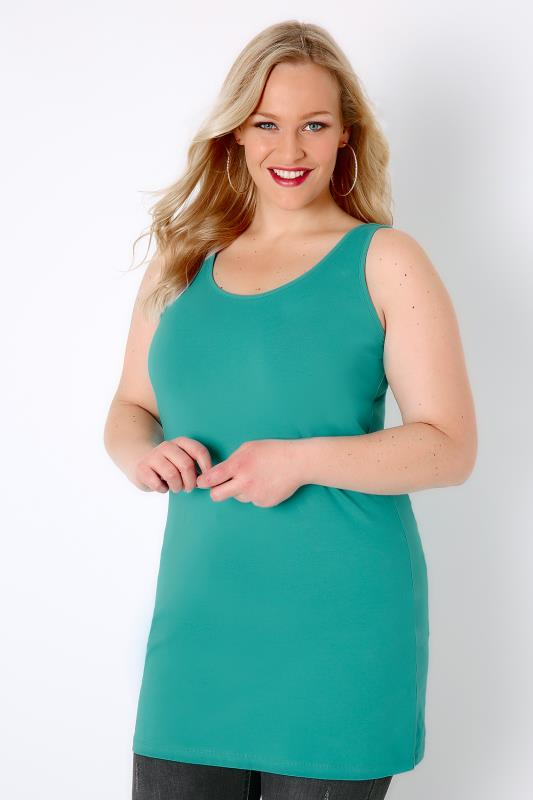 Basic T-Shirts & Vests Jade Green Longline Vest Top 132015