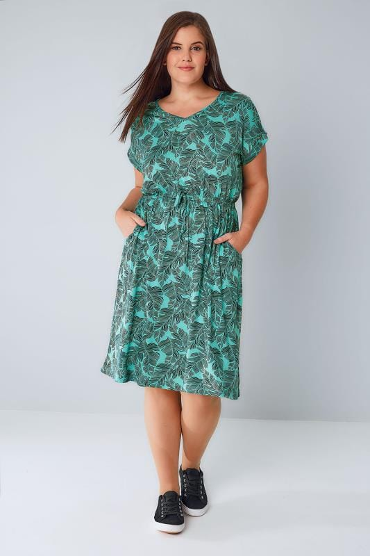Jade Green Palm Print T-Shirt Dress With Pockets & Elasticated Waistband