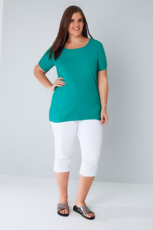 Jade Green T-Shirt With Ruched Short Sleeves