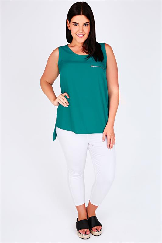 Jade Sleeveless Dipped Hem Top With Zip Pocket Detail