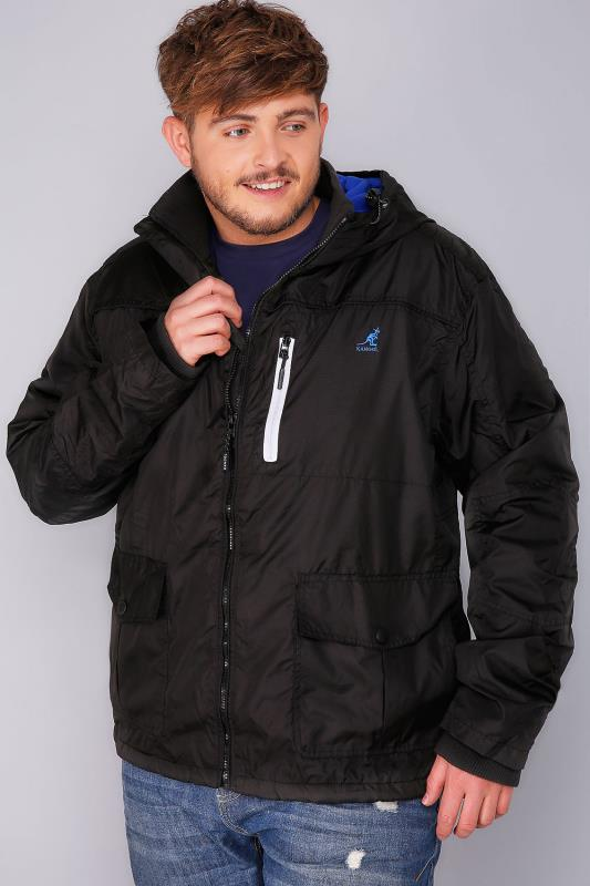 KANGOL Black Water Resistant Hooded Coat With Blue Fleece Lining