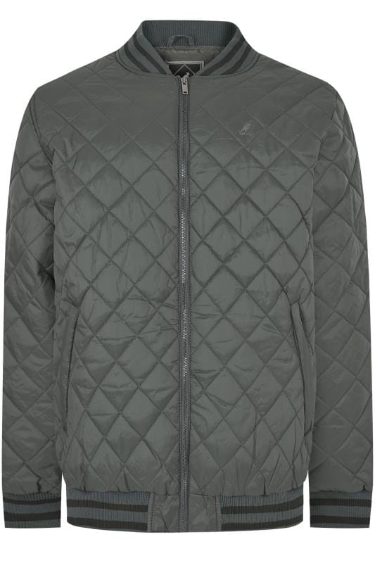 Jackets KANGOL Charcoal Grey Quilted Jacket With Tipped Trims 170541