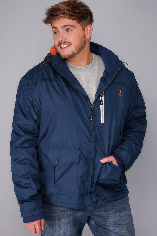 KANGOL Navy Water Resistant Hooded Coat With Orange Fleece Lining