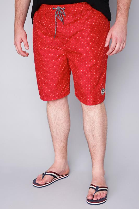 KANGOL Red & White Dotted Print Swim Short