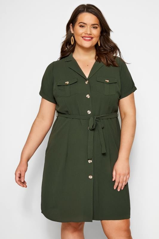 Plus Size Casual Dresses Khaki Utility Shirt Dress
