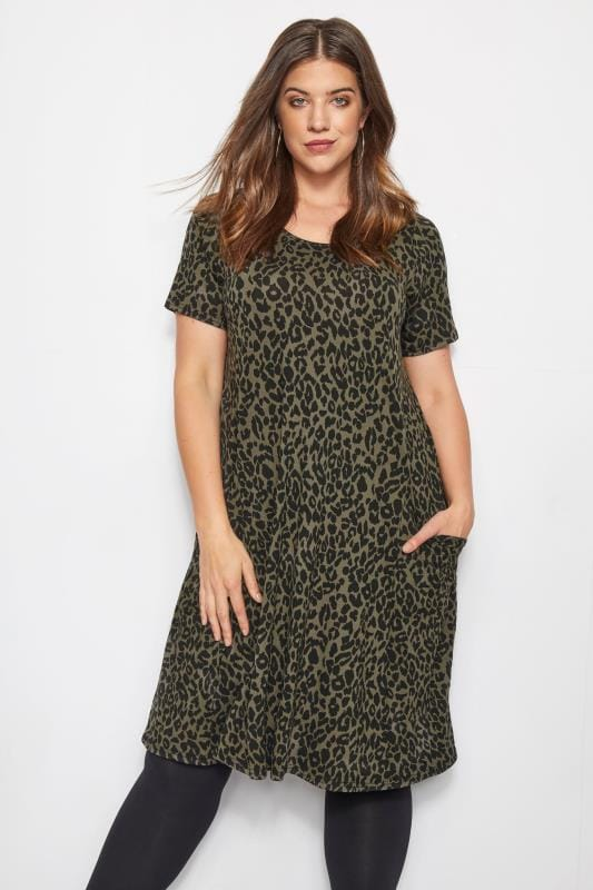 Khaki Animal Print Drape Pocket Dress