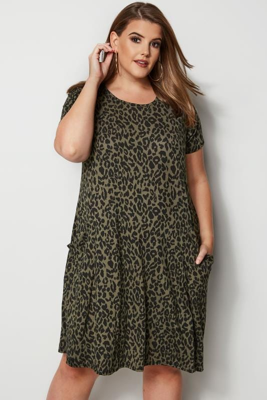 Plus Size Midi Dresses Khaki Animal Print Drape Pocket Dress