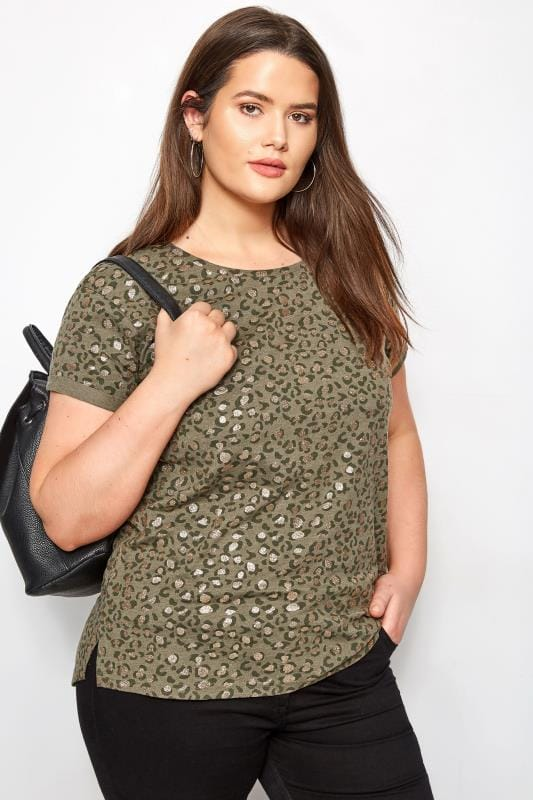 Plus Size T-Shirts Khaki Animal Print Glitter T-Shirt