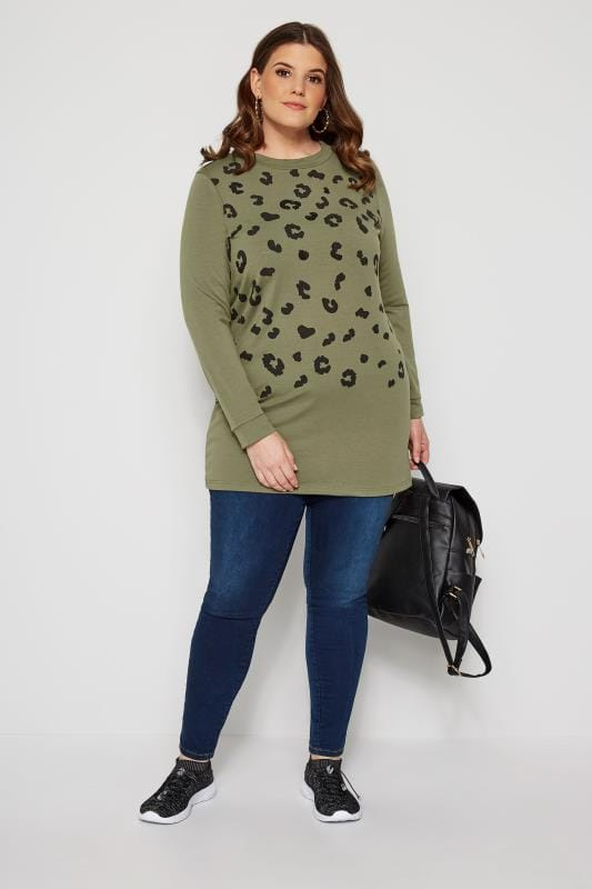 Khaki Animal Print Sequin Sweater