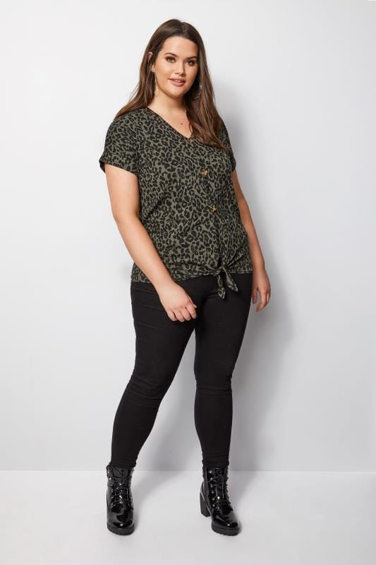 Khaki Animal Print Tie Front Top