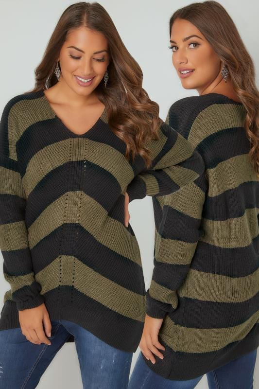 Plus Size Jumpers Khaki & Black Chevron Striped Longline Jumper With Curved Hem