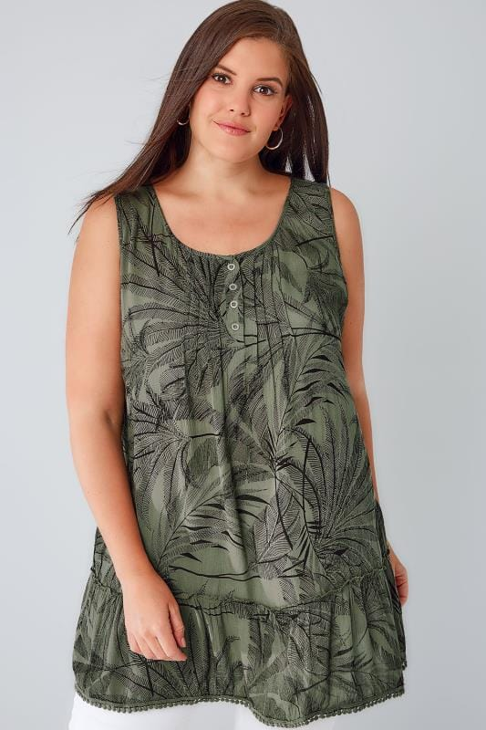 Khaki & Black Palm Print Crinkle Longline Top