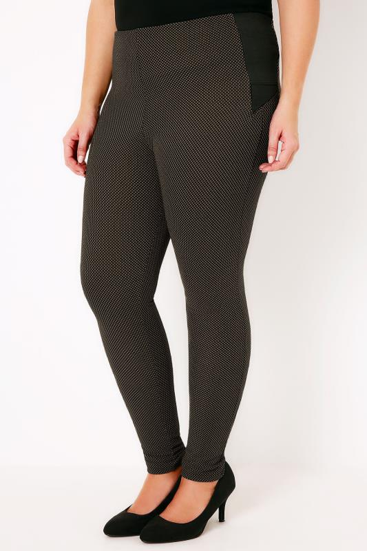 Khaki & Black Textured Treggings With Stretch Side Panels