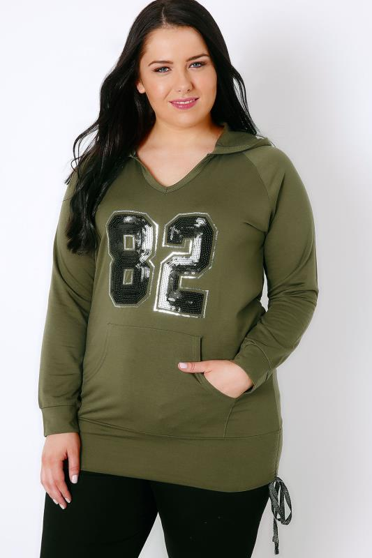 "Khaki & Black Sequin ""82"" Hoodie With Ruched Sides"