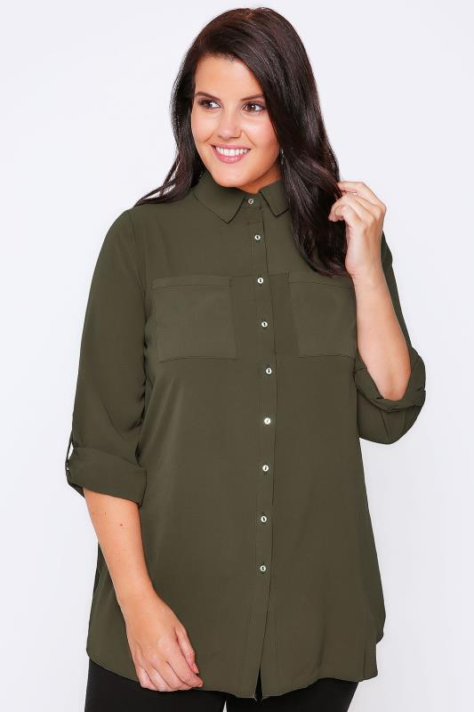 Khaki Button-Up Crepe Shirt With Pockets & Split Side Hem