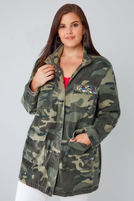 Khaki Camo Longline Jacket With Pockets & Rhinestone Embellishment