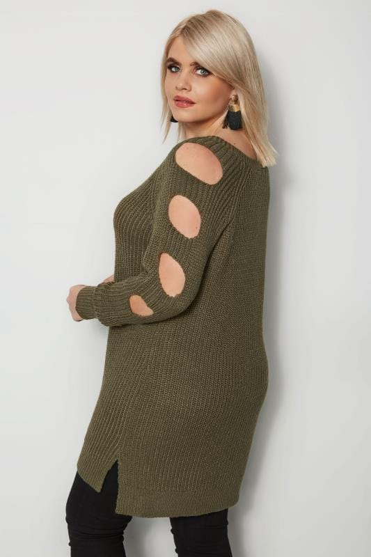 Plus Size Jumpers Khaki Chunky Knit Longline Jumper With Cut Out Sleeves