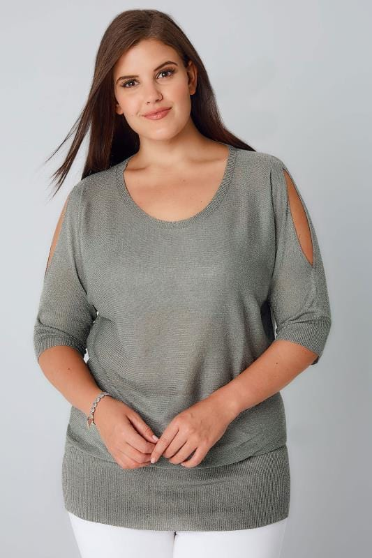 Khaki Cold Shoulder Metallic Jumper