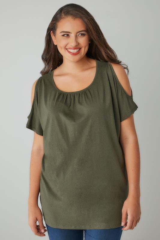 Khaki Cold Shoulder Top With Ruched Neckline, Plus Size 16 -5541