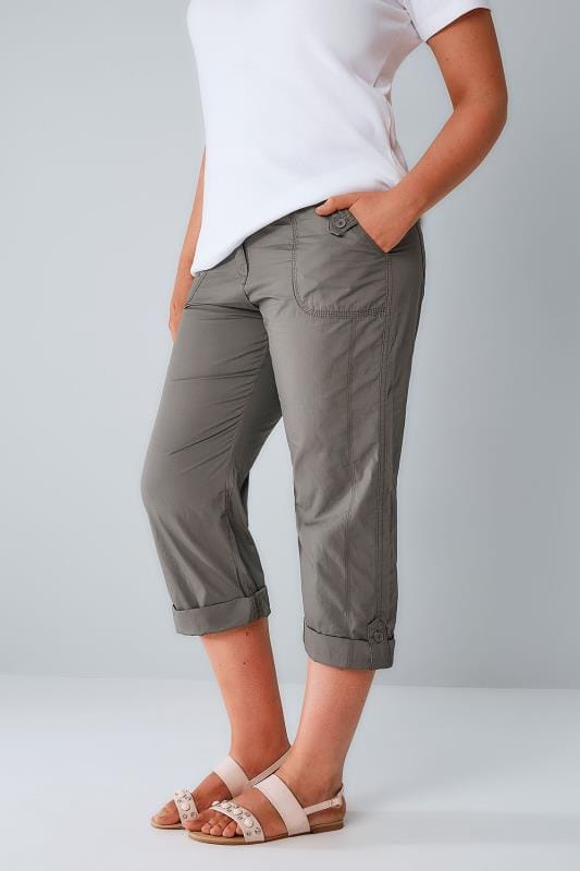 Khaki Cotton Cargo Cropped Trousers